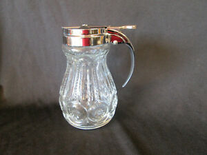 """Moon and Stars CLEAR Syrup Pitcher w/ Lid LE Smith Glass Vintage 4.75"""" tall"""
