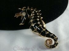 Retired Gold Swan Swarovski Crystal Black Enamel Ocean Life Sea Horse Brooch Pin