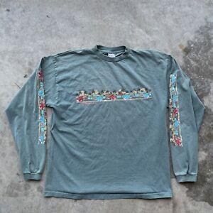 OP Ocean Pacific Vintage 90s Hawaii Beach Surf Green Long Sleeve Shirt Mens XL