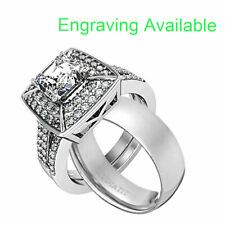 Cz Wedding Engagement Ring Band Set His Hers 3 Piece Stainless Steel Princess