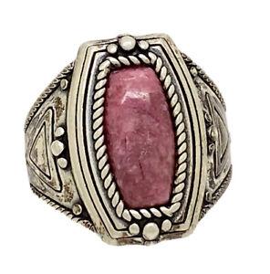 Shube Dakota West Sterling Silver Pink Rhodonite Ring Size 10.25