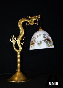 Vintage Edwardian C-1910 brass sculpture Chinese dragon lamp opaline shade