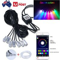Car LED Strip Light RGB Neon Accent Light 8 In 1 With 10 Meters Optical Fiber