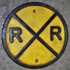 """Vintage Style Cast Iron 6"""" Yellow Railroad Crossing Train Track Sign RR"""