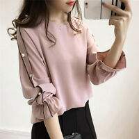 Women Fashion Chiffon Shirt Female Beaded Tops Solid Color Long Sleeve Blouse M&