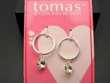 $10 Tomas Dainty Sterling Silver Clear Crystal Flower Dangle Hoop Earrings