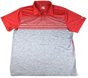 Under Armour Mens Heat Gear Loose Fit Polo Golf Shirt Sz 2XL Red Striped