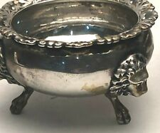 Antique Coin Silver Salt Cellar by Gorham with Lion Heads on Feet