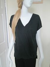 ATMOSPHERE - BLACK WRAP FRONT SHORT SLEEVED T-SHIRT size 12