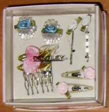 Vintage Rare Bentley 7Pc Comb Claw Clips Hair Set Roses Prom Wedding Dressy Gift