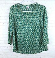 CAbi Women's Size M Green Floral Semi Sheer Hi Lo Jade Blouse Top Style 3069