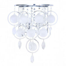 2 Light Wall Light Vintage Home Fitting With Opal Crystal Effect Droplets Chrome