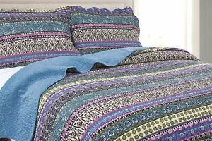 3-Piece Blue Boho Chic Floral Bohemian Pre-Washed Cotton Bedspread Quilt Set