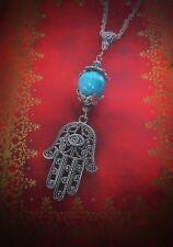 Long Hansa Hand Fatima Hand Filigree Pendant Necklace With Blue Bead Unique Boho