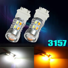 2x 3157 LED White Amber Dual Color Switchback Turn Signal Light Bulbs+Resistor