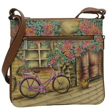 "Anuschka #550-VTB 'VINTAGE BIKE"" EXPAND TRAVEL CROSSBODY 9""x8.5""x2.5"" NWT"