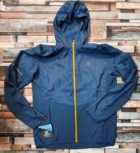 Salomon Agile Full-Zip Hooded Wind Jacket, Dark Denim, Men's Medium RRP £120