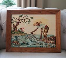 Vtg PAINT BY NUMBER Framed Island Fisherman Cast Net Fishing Numbers Painting