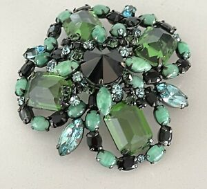 SCHREINER Inverted Stone Pin Pendant BEAUTY Marbled Clear Green Blue Unmarked