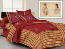Indian Rajasthani Handmade King Size Pure Cotton Bed Sheet 2 Pillow Covers Set