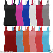 Womens Ladies & Girls Stretchy Ribbed Vest Top Summer Rib Strappy Vest UK 8-26