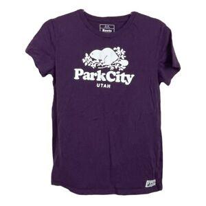 Roots Canada Park City Utah Shirt Women's M size Maroon Short Sleeves