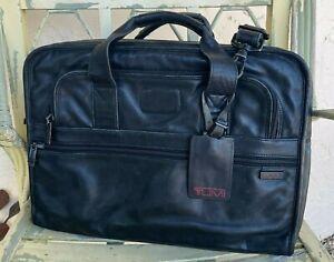TUMI Alpha Black Leather Briefcase Laptop Computer Bag