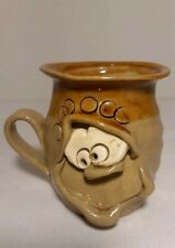 Pretty Ugly Pottery Coffee Mug/Cup W/Face Handmade in Wales Glazed Stoneware