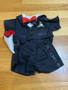 """Build a Bear BABW Black Tuxedo """"I Love You"""" Roses Shoes Formal Outfit Groom"""