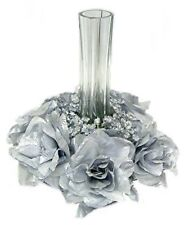 Candle Ring Silver Wedding Party Unity Centerpieces 25th Anniversary Silk Roses
