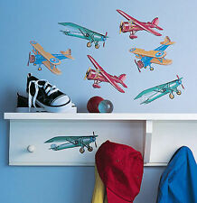 WALLIES VINTAGE AIRPLANES wall stickers 25 prepasted decals scrapbook planes