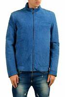 Malo Men's 100% Suede Leather Blue Full Zip Jacket US XL IT 54