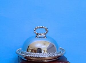 Dollhouse Miniature Polished Pewter Dome Platter