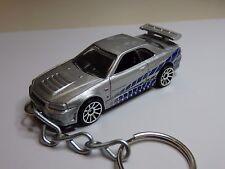 Hot Wheels 2 Fast 2 Furious Nissan Skyline GT-R R34 Keyfob Keychain Keyring