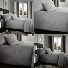 Portobello Geometric Weave Duvet Cover Set, Curtains, Bedspread - Silver Slate
