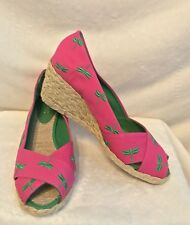 NEW RALPH LAUREN Pink Green Dragonfly Espadrilles Sandals Shoes - 8.5