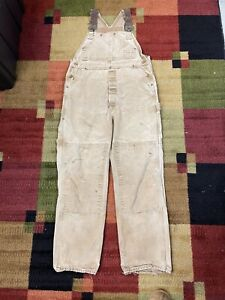 Vintage Carhartt Duck Work Double Knee Overalls Bibs Distressed Size 36x30