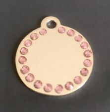 *SMALL* SILVER DISC with PINK DIAMANTES/BLING. Engraved cat/dog/pet ID NAME TAG