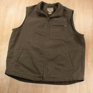 LL BEAN men's wool lined canvas full zip vest XXL TALL 2XLT brown vtg