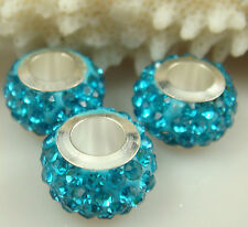 30PCS Listing High Quality CZ Crystals Beads fit European Charm Bracelet 25sbi