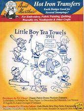 Little Boy's Tea Towels #3911 Aunt Martha's Hot Iron Embroidery Transfer Pattern
