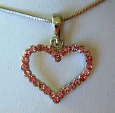 """Pink Austrian Crystal Heart Pendant and Necklace 15"""""""