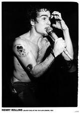 "Black Flag Henry Rollins 100 Club- Retro Poster Size 84.1cm x 59.4cm- 33"" x 24"""