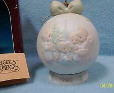 """Precious Moments """"May Your Christmas Be a Happy Home"""" 1990 Ornament 52304~ CUTE!"""