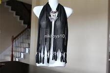 Black Fashion Jewelry Scarf w Decoration Rhinestone Butterfly Necklace Pendant