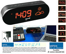 LOWELL U47214 OROLOGIO DISPLAY LED GIGANTE REGOLABILE TEMPERATURA UMIDITA' METEO