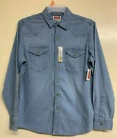 Mens Wrangler Classic Vintage Denim Blue Western Shirt Long Sleeve RRP £60 BR147