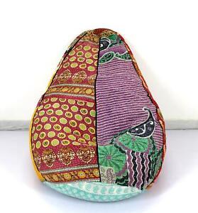 Handmade Quilted Kantha Cotton Floral Bohemian Bean Bag Sacco Chair Ottoman