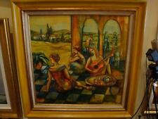 RARE MAGNIFICENT FRAMED ORIGINAL  MUSICAL LADIES FRENCH PAINTING BETTY WITTWE