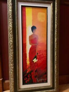 Emile Bellet Ete Rouge Hand Embellished Giclee in Color on Canvas